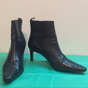 Lauren Ralph Lauren Black Leather Ankle Boots 9.5